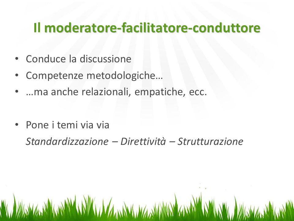 moderatore-facilitatore-conduttore Il moderatore-facilitatore-conduttore Conduce la discussione Competenze metodologiche… …ma anche relazionali, empatiche, ecc.
