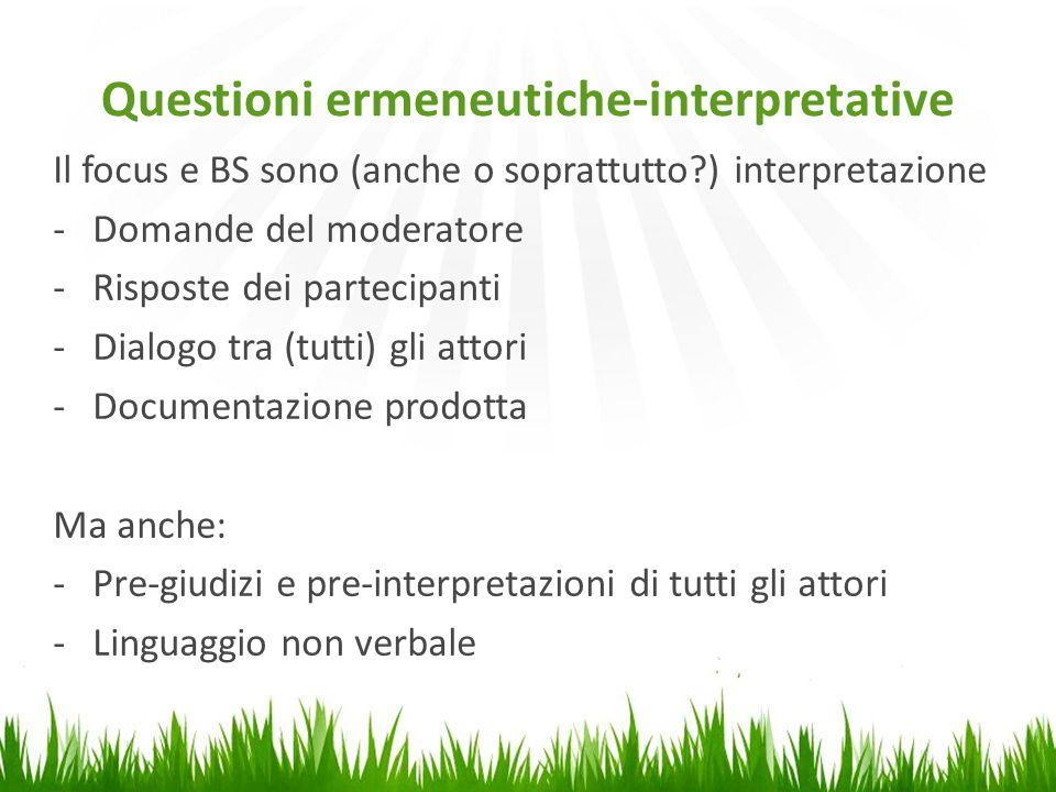 Questioni ermeneutiche-interpretative Il focus e BS sono (anche o soprattutto?) interpretazione -Domande del moderatore -Risposte dei partecipanti -Di
