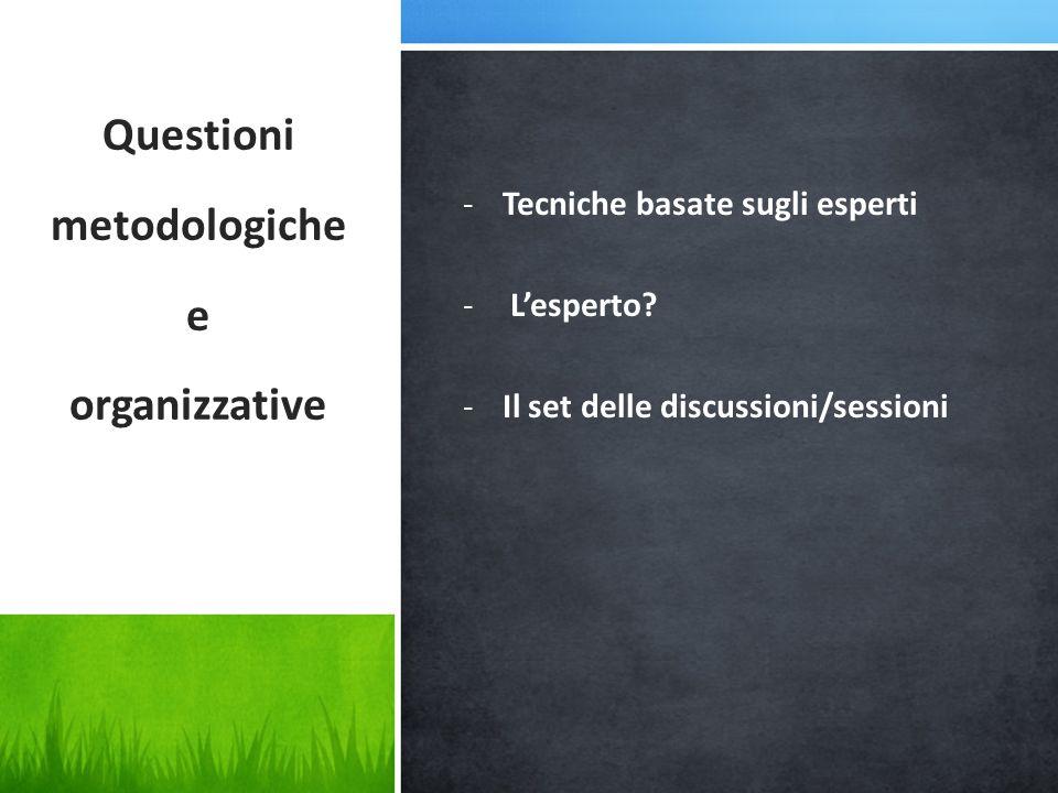 -Tecniche basate sugli esperti - L'esperto? -Il set delle discussioni/sessioni Questioni metodologiche e organizzative