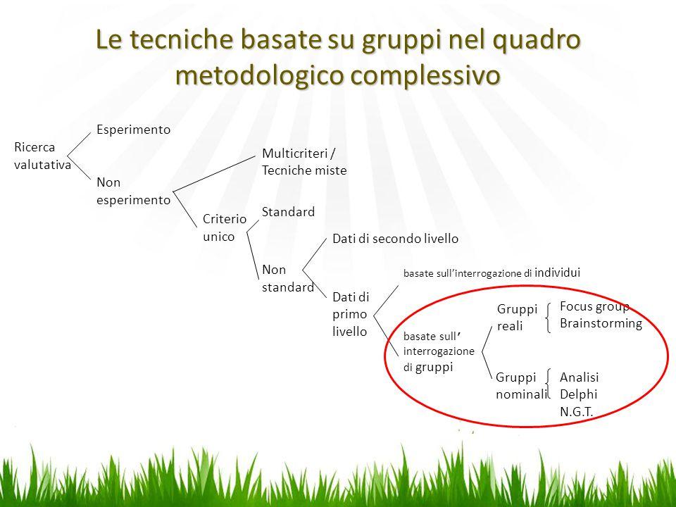 Ricerca valutativa Esperimento Non esperimento Multicriteri / Tecniche miste Criterio unico Standard Non standard Dati di primo livello basate sull'interrogazione di individui basate sull' interrogazione di gruppi Gruppi reali Gruppi nominali Analisi Delphi N.G.T.