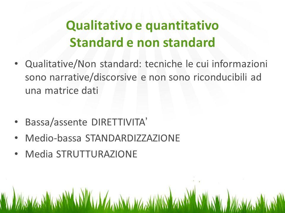 Qualitativo e quantitativo Standard e non standard Qualitative/Non standard: tecniche le cui informazioni sono narrative/discorsive e non sono riconducibili ad una matrice dati Bassa/assente DIRETTIVITA' Medio-bassa STANDARDIZZAZIONE Media STRUTTURAZIONE