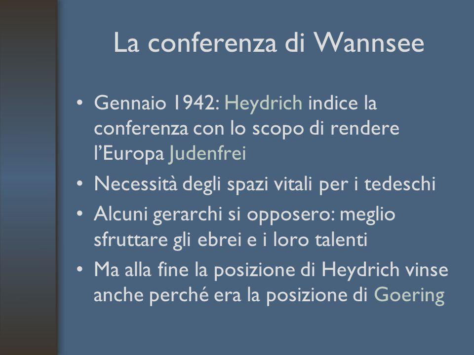 La conferenza di Wannsee Gennaio 1942: Heydrich indice la conferenza con lo scopo di rendere l'Europa Judenfrei Necessità degli spazi vitali per i tedeschi Alcuni gerarchi si opposero: meglio sfruttare gli ebrei e i loro talenti Ma alla fine la posizione di Heydrich vinse anche perché era la posizione di Goering
