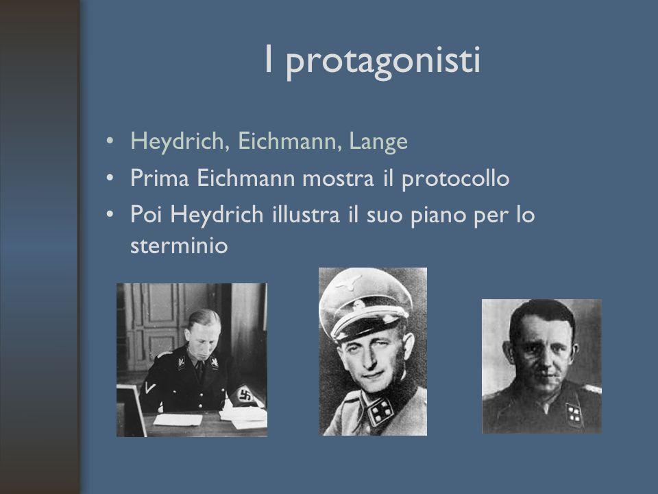 I protagonisti Heydrich, Eichmann, Lange Prima Eichmann mostra il protocollo Poi Heydrich illustra il suo piano per lo sterminio