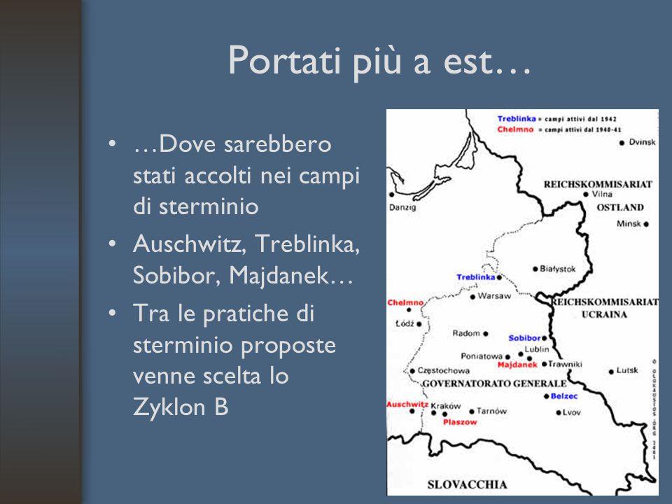 Portati più a est… …Dove sarebbero stati accolti nei campi di sterminio Auschwitz, Treblinka, Sobibor, Majdanek… Tra le pratiche di sterminio proposte venne scelta lo Zyklon B