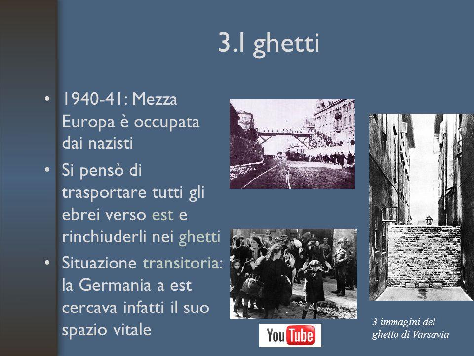 3.I ghetti 1940-41: Mezza Europa è occupata dai nazisti Si pensò di trasportare tutti gli ebrei verso est e rinchiuderli nei ghetti Situazione transitoria: la Germania a est cercava infatti il suo spazio vitale 3 immagini del ghetto di Varsavia