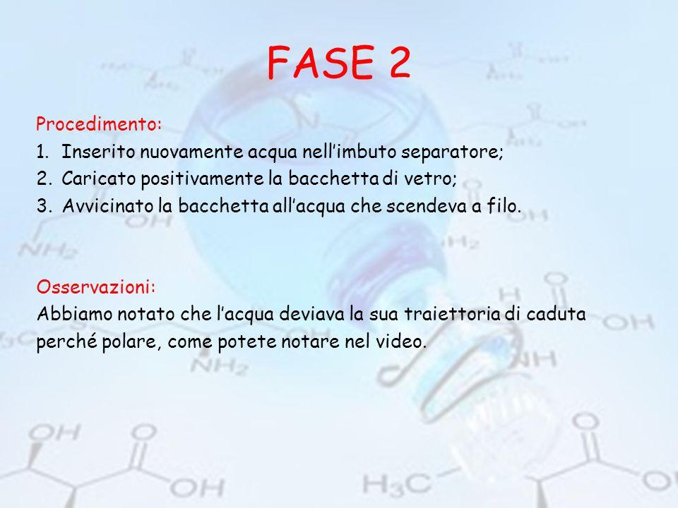 FASE 3 Abbiamo seguito un procedimento analogo alla fase 2, sostituendo l'acqua con l'olio.