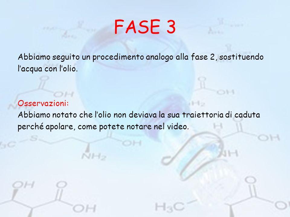 FASE 3 Abbiamo seguito un procedimento analogo alla fase 2, sostituendo l'acqua con l'olio. Osservazioni: Abbiamo notato che l'olio non deviava la sua