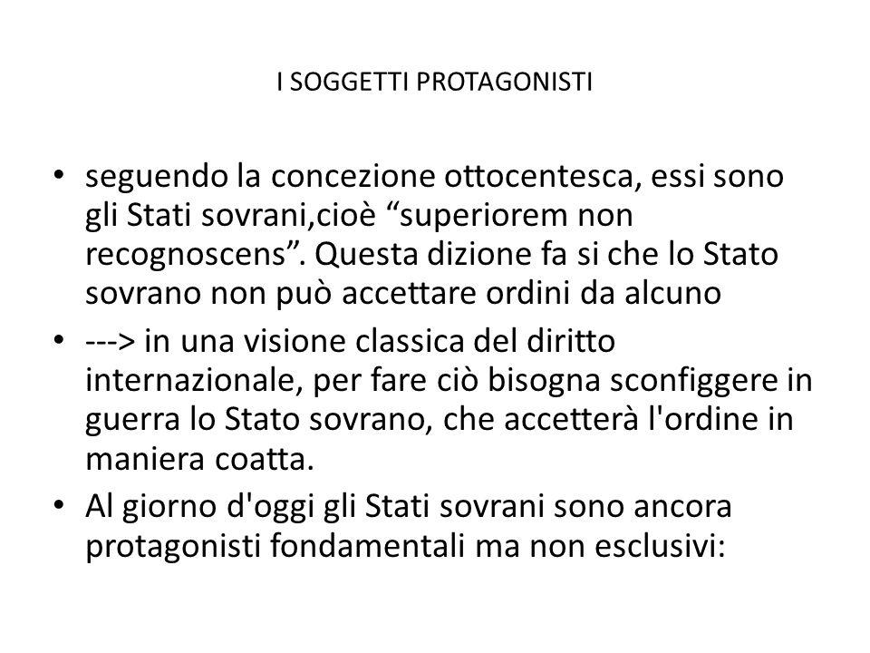 """I SOGGETTI PROTAGONISTI seguendo la concezione ottocentesca, essi sono gli Stati sovrani,cioè """"superiorem non recognoscens"""". Questa dizione fa si che"""