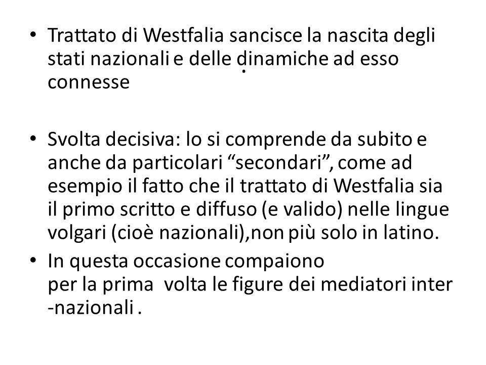 . Trattato di Westfalia sancisce la nascita degli stati nazionali e delle dinamiche ad esso connesse Svolta decisiva: lo si comprende da subito e anch