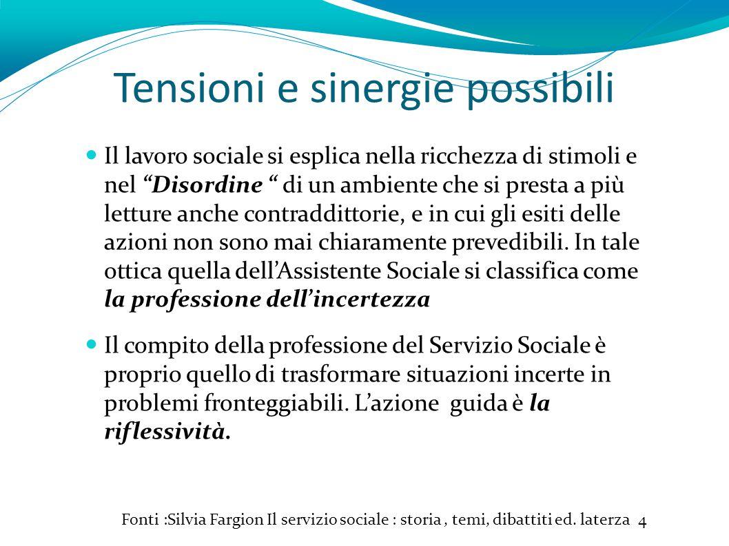 Tensioni e sinergie possibili Fonti :Silvia Fargion Il servizio sociale : storia, temi, dibattiti ed.