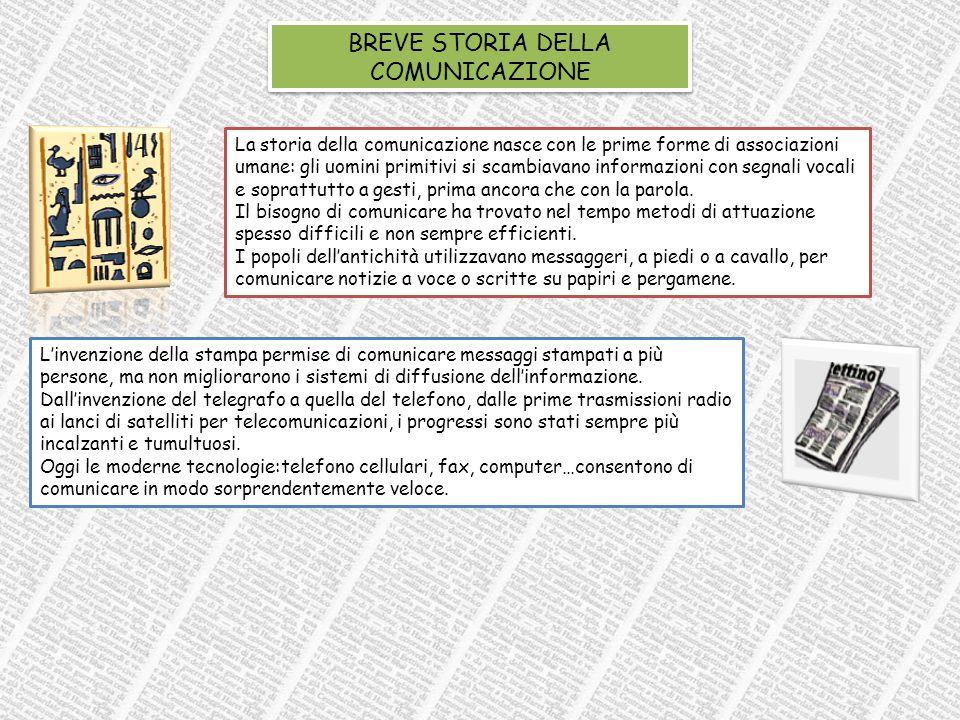 BREVE STORIA DELLA COMUNICAZIONE La storia della comunicazione nasce con le prime forme di associazioni umane: gli uomini primitivi si scambiavano informazioni con segnali vocali e soprattutto a gesti, prima ancora che con la parola.
