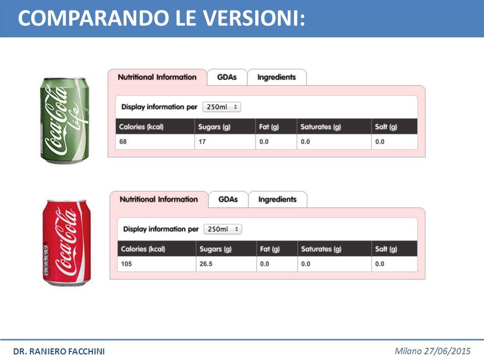 DR. RANIERO FACCHINI COMPARANDO LE VERSIONI: