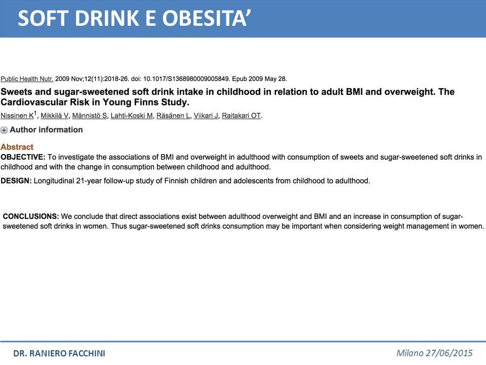 DR. RANIERO FACCHINI SOFT DRINKS E OSTEOPOROSI