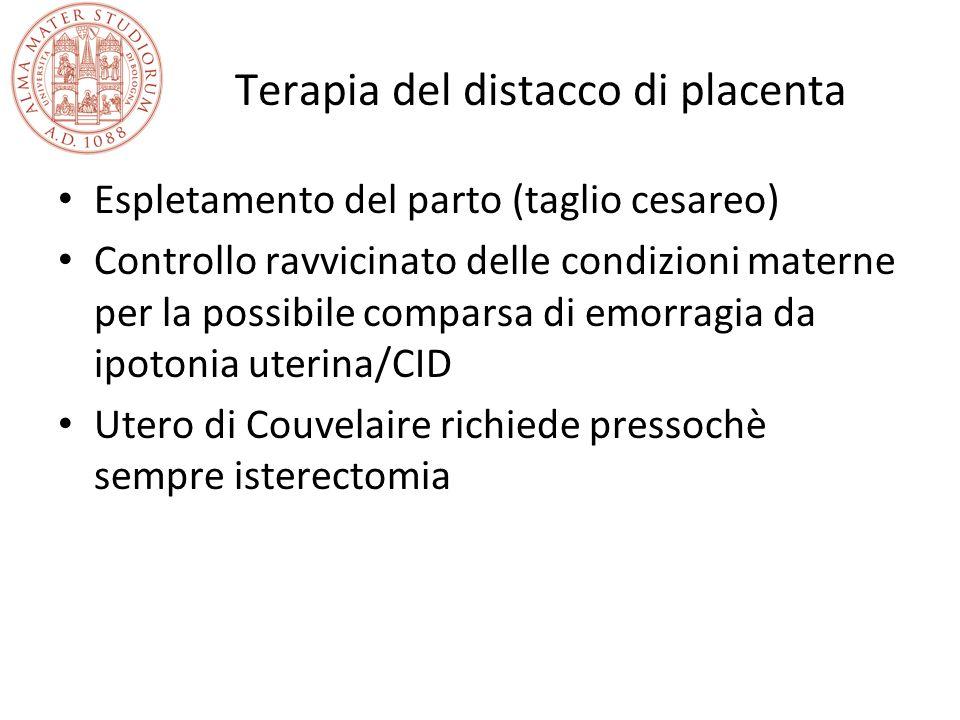 Terapia del distacco di placenta Espletamento del parto (taglio cesareo) Controllo ravvicinato delle condizioni materne per la possibile comparsa di e