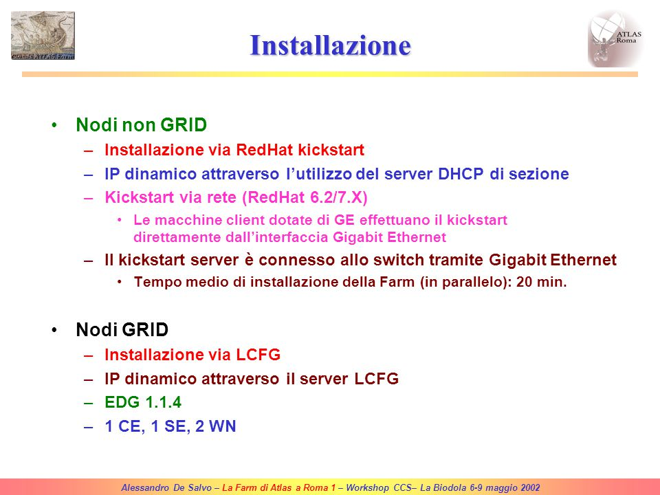 Alessandro De Salvo – La Farm di Atlas a Roma 1 – Workshop CCS– La Biodola 6-9 maggio 2002 Fibra ottica (Lab Atlas) Network Switch 3COM SuperStack II