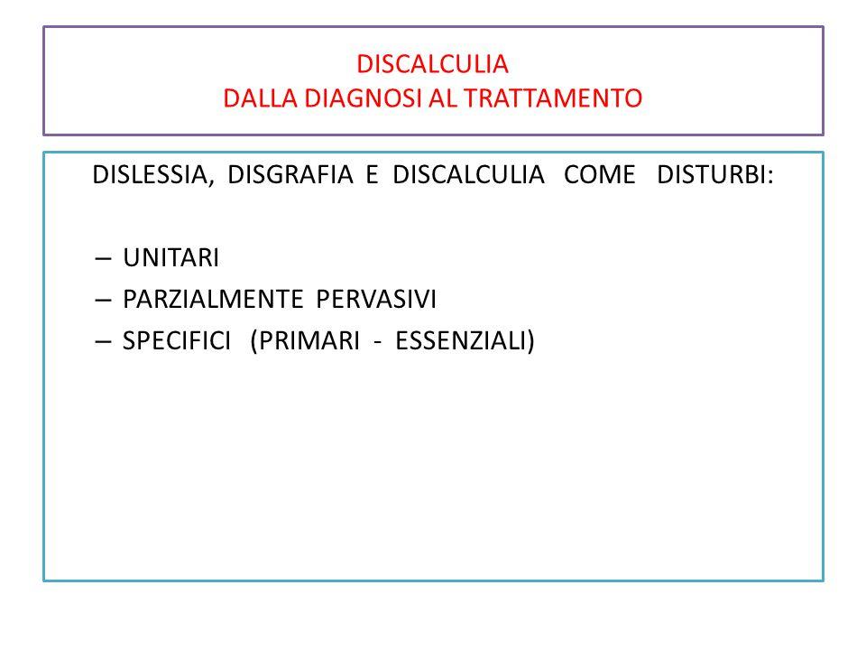 DISCALCULIA DALLA DIAGNOSI AL TRATTAMENTO DISLESSIA, DISGRAFIA E DISCALCULIA COME DISTURBI: – UNITARI – PARZIALMENTE PERVASIVI – SPECIFICI (PRIMARI - ESSENZIALI)