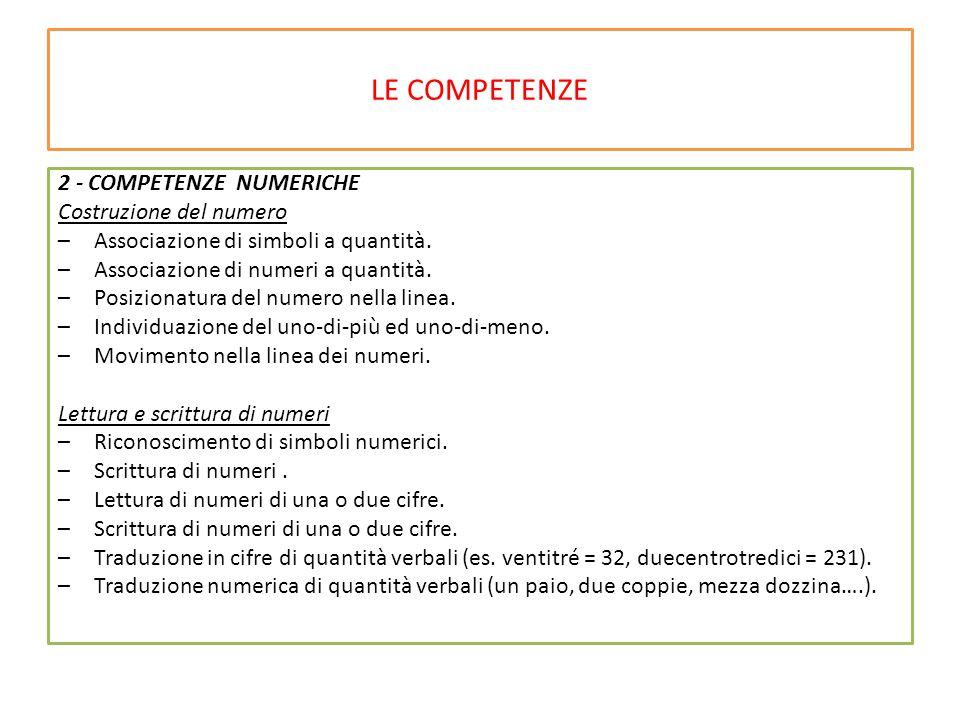 LE COMPETENZE 2 - COMPETENZE NUMERICHE Costruzione del numero –Associazione di simboli a quantità.