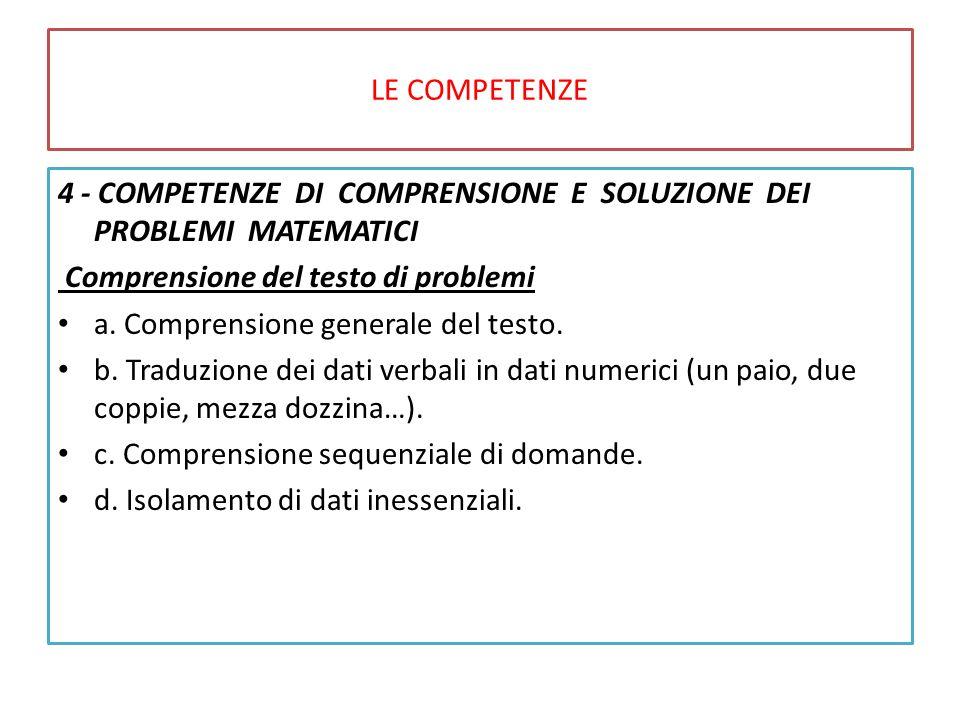 LE COMPETENZE 4 - COMPETENZE DI COMPRENSIONE E SOLUZIONE DEI PROBLEMI MATEMATICI Comprensione del testo di problemi a.