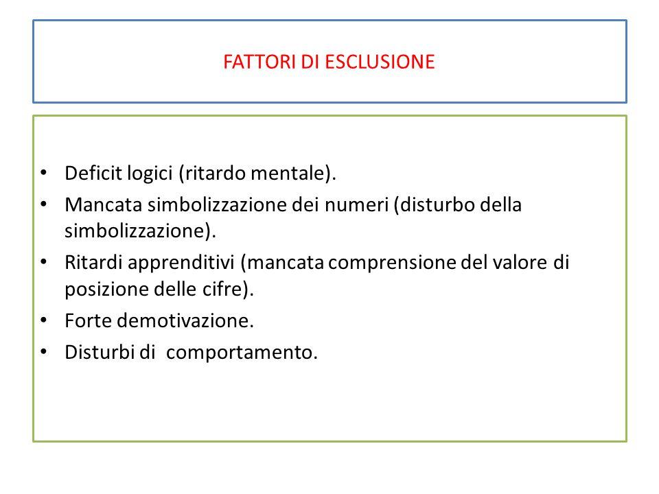 FATTORI DI ESCLUSIONE Deficit logici (ritardo mentale).