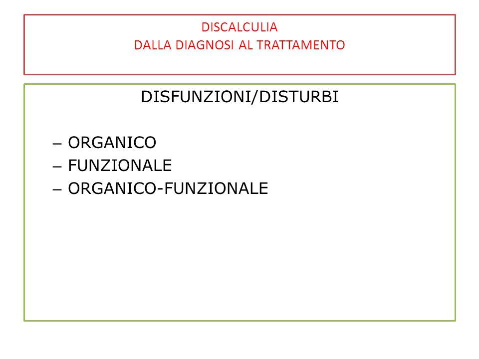 DISCALCULIA DALLA DIAGNOSI AL TRATTAMENTO DISFUNZIONI/DISTURBI – ORGANICO – FUNZIONALE – ORGANICO-FUNZIONALE