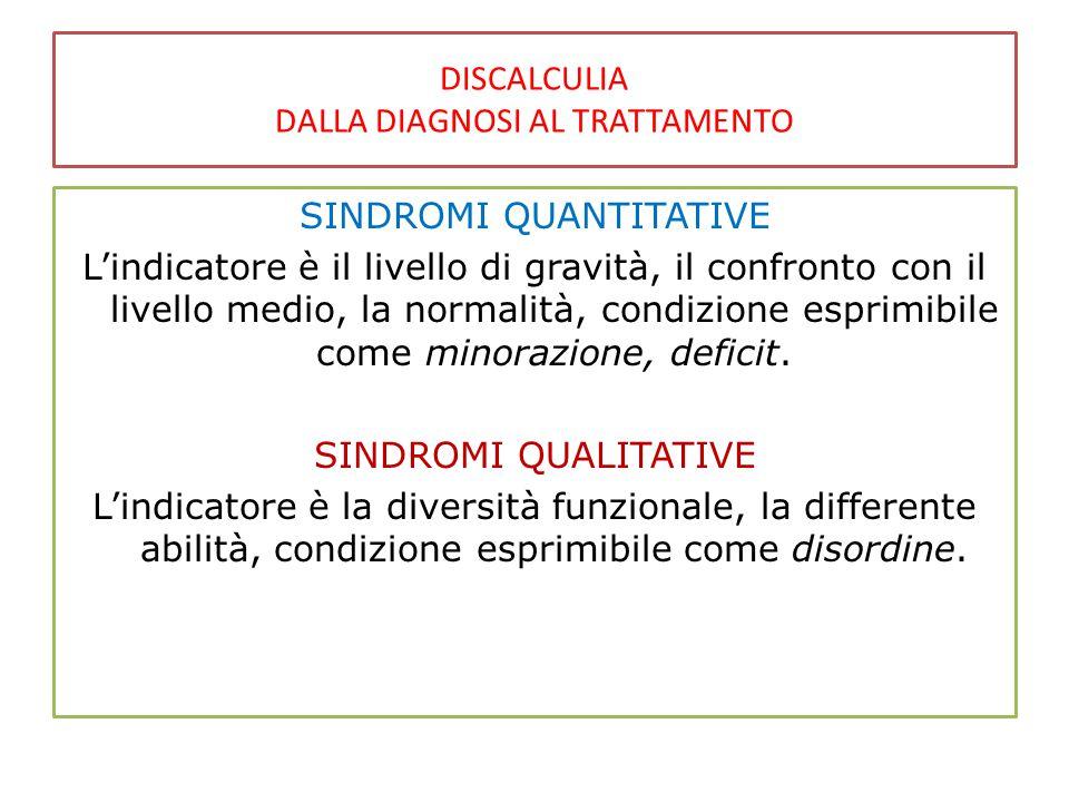 DISCALCULIA DALLA DIAGNOSI AL TRATTAMENTO SINDROMI QUANTITATIVE L'indicatore è il livello di gravità, il confronto con il livello medio, la normalità, condizione esprimibile come minorazione, deficit.