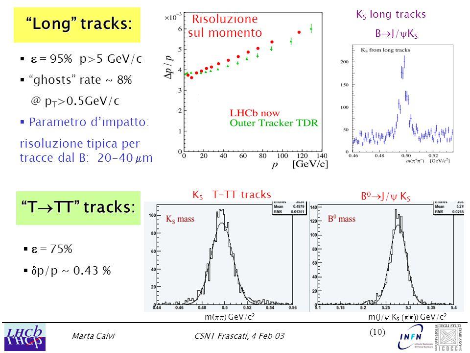Marta CalviCSN1 Frascati, 4 Feb 03 (10) Long tracks:     = 95% p>5 GeV/c   ghosts rate ~ 8% @ p T >0.5GeV/c   Parametro d'impatto: risoluzione tipica per tracce dal B: 20-40  m Risoluzione sul momento K S long tracks B  J/  K S    = 75%    p/p ~ 0.43 % T  TT tracks: B 0  J/  K S K S T-TT tracks m(J/  K S  ) GeV/c 2 m(  ) GeV/c 2