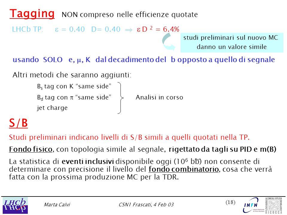 Marta CalviCSN1 Frascati, 4 Feb 03 (18) S/B Studi preliminari indicano livelli di S/B simili a quelli quotati nella TP.