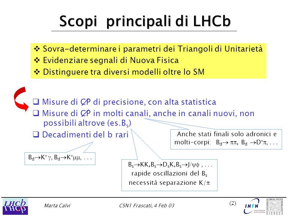 Marta CalviCSN1 Frascati, 4 Feb 03 (2)(2) Scopi principali di LHCb  Misure di CP di precisione, con alta statistica  Misure di CP in molti canali, anche in canali nuovi, non possibili altrove (es.B s )  Decadimenti del b rari   Sovra-determinare i parametri dei Triangoli di Unitarietà   Evidenziare segnali di Nuova Fisica   Distinguere tra diversi modelli oltre lo SM B d  K   B d  K   B s  KK,B s  D s K,B s  J /  rapide oscillazioni del B s necessità separazione K/  Anche stati finali solo adronici e molti-corpi: B d  , B d  D  