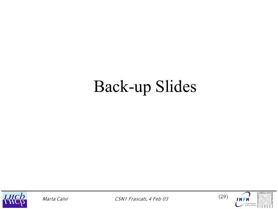 Marta CalviCSN1 Frascati, 4 Feb 03 (29) Back-up Slides