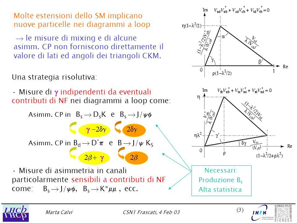 Marta CalviCSN1 Frascati, 4 Feb 03 (3)(3) Necessari: Produzione B s Alta statistica Una strategia risolutiva: · Misure di  indipendenti da eventuali contributi di NF nei diagrammi a loop come: Asimm.