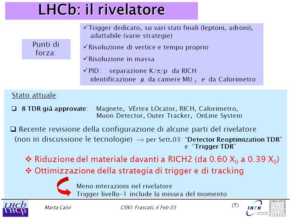 Marta CalviCSN1 Frascati, 4 Feb 03 (5)(5) LHCb: il rivelatore  8 TDR già approvate: Magnete, VErtex LOcator, RICH, Calorimetro, Muon Detector, Outer Tracker, OnLine System   Recente revisione della configurazione di alcune parti del rivelatore (non in discussione le tecnologie )  per Sett.03: Detector Reoptimization TDR e Trigger TDR   Riduzione del materiale davanti a RICH2 (da 0.60 X 0 a 0.39 X 0 )   Ottimizzazione della strategia di trigger e di tracking Punti di forza: Trigger dedicato, su vari stati finali (leptoni, adroni), adattabile (varie strategie) Risoluzione di vertice e tempo proprio Risoluzione in massa PID: separazione K/  /p da RICH identificazione   da camere MU, e da Calorimetro Meno interazioni nel rivelatore Trigger livello-1 include la misura del momento Stato attuale: