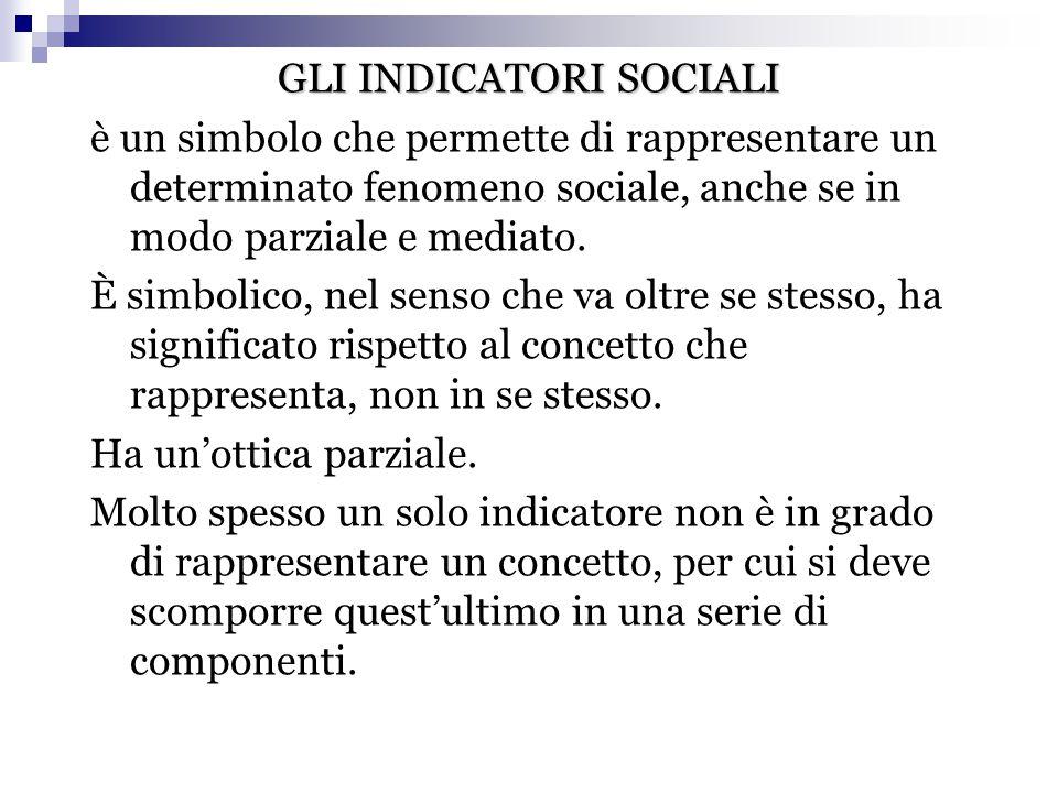 GLI INDICATORI SOCIALI è un simbolo che permette di rappresentare un determinato fenomeno sociale, anche se in modo parziale e mediato. È simbolico, n