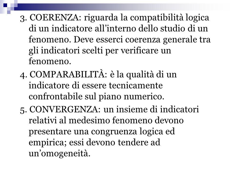 3. COERENZA: riguarda la compatibilità logica di un indicatore all'interno dello studio di un fenomeno. Deve esserci coerenza generale tra gli indicat