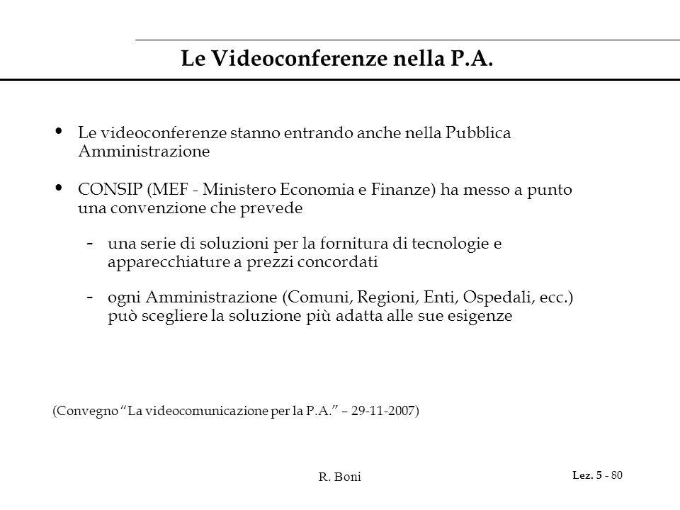 R. Boni Lez. 5 - 80 Le Videoconferenze nella P.A.