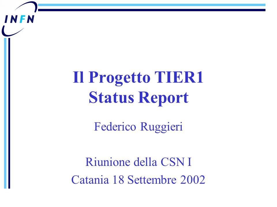 Federico Ruggieri Riunione della CSN I Catania 18 Settembre 2002 Il Progetto TIER1 Status Report