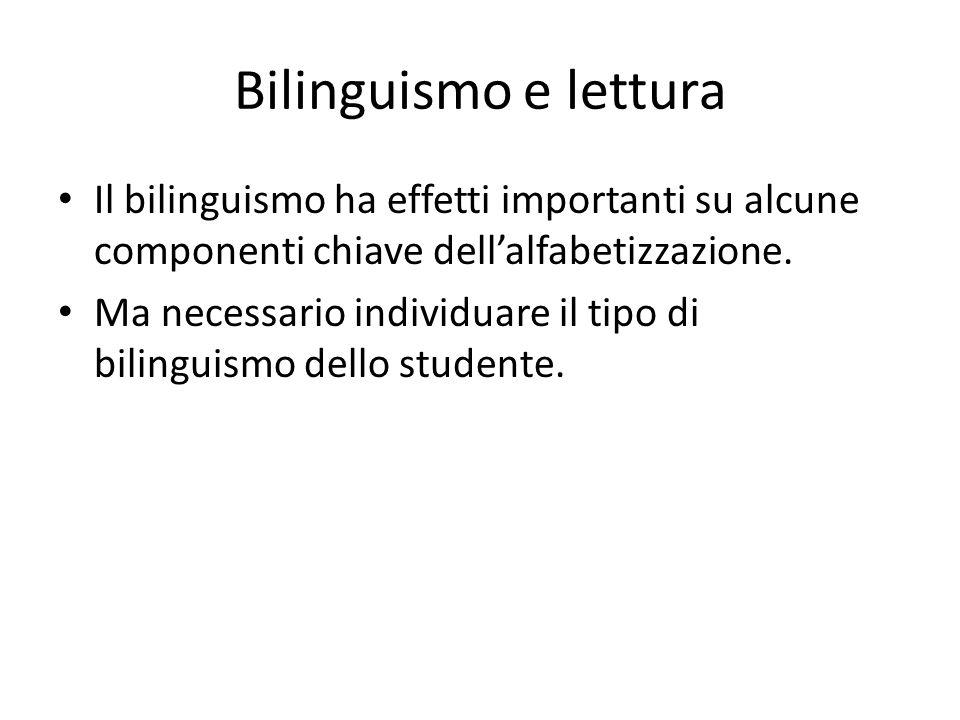 Bilinguismo e lettura Il bilinguismo ha effetti importanti su alcune componenti chiave dell'alfabetizzazione. Ma necessario individuare il tipo di bil