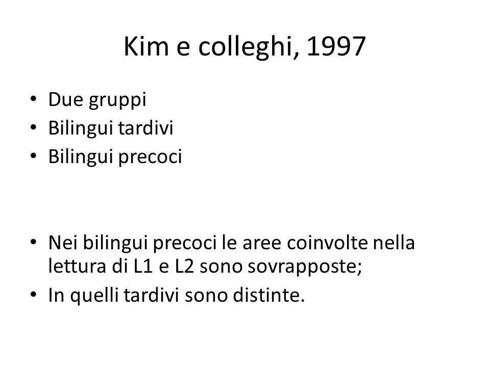 Kim e colleghi, 1997 Due gruppi Bilingui tardivi Bilingui precoci Nei bilingui precoci le aree coinvolte nella lettura di L1 e L2 sono sovrapposte; In