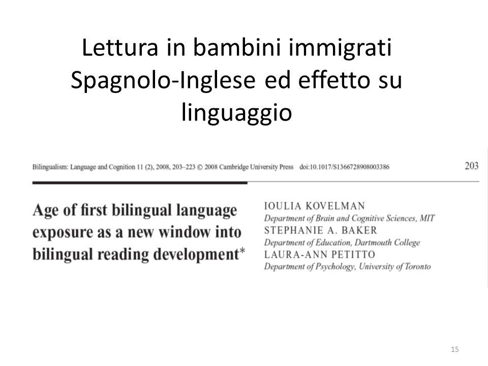 Lettura in bambini immigrati Spagnolo-Inglese ed effetto su linguaggio 15