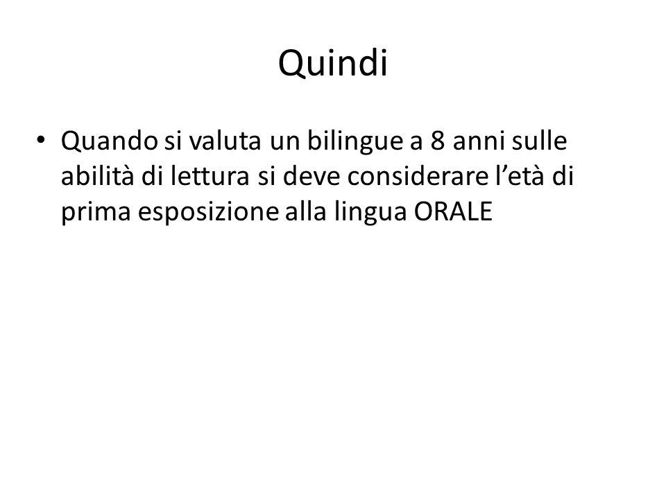 Quindi Quando si valuta un bilingue a 8 anni sulle abilità di lettura si deve considerare l'età di prima esposizione alla lingua ORALE
