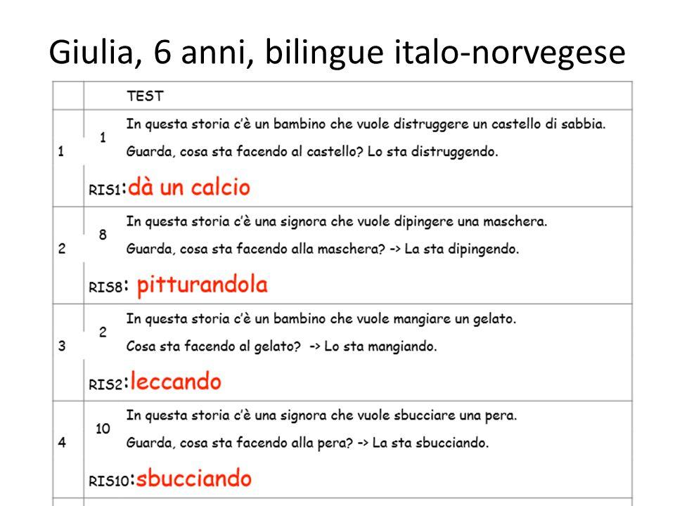Giulia, 6 anni, bilingue italo-norvegese