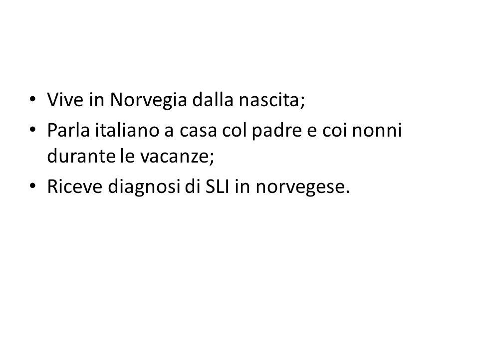 Vive in Norvegia dalla nascita; Parla italiano a casa col padre e coi nonni durante le vacanze; Riceve diagnosi di SLI in norvegese.