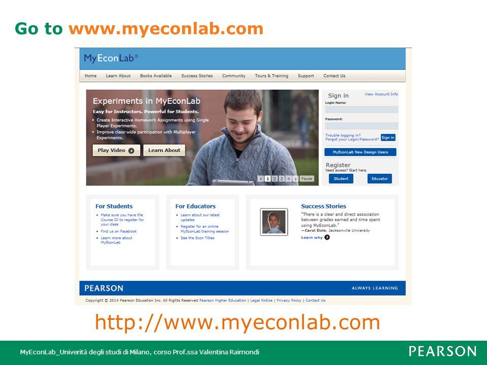 MyEconLab_Univerità degli studi di Milano, corso Prof.ssa Valentina Raimondi http://www.myeconlab.com Go to www.myeconlab.com