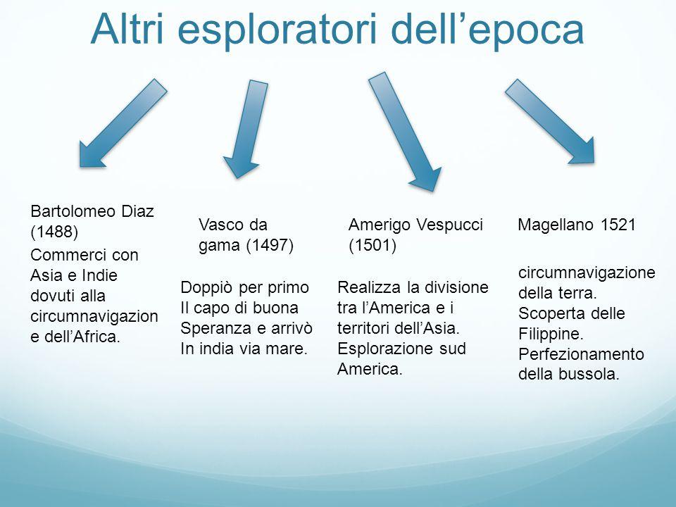 Altri esploratori dell'epoca Bartolomeo Diaz (1488) Amerigo Vespucci (1501) circumnavigazione della terra. Scoperta delle Filippine. Perfezionamento d