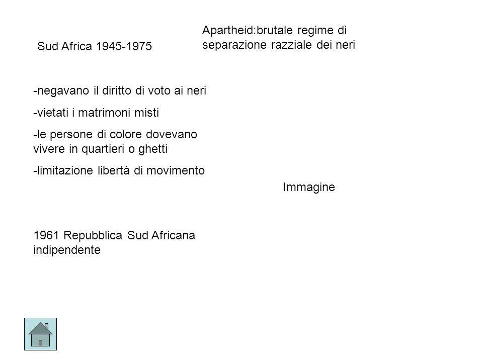 Sud Africa 1945-1975 -negavano il diritto di voto ai neri -vietati i matrimoni misti -le persone di colore dovevano vivere in quartieri o ghetti -limitazione libertà di movimento 1961 Repubblica Sud Africana indipendente Apartheid:brutale regime di separazione razziale dei neri Immagine