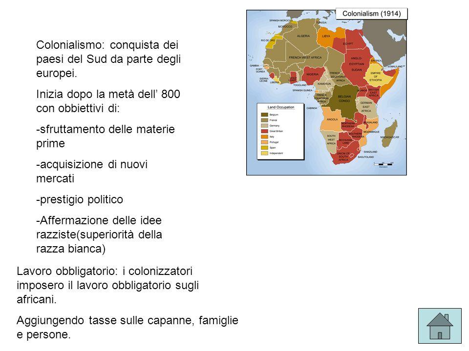 Colonialismo: conquista dei paesi del Sud da parte degli europei.