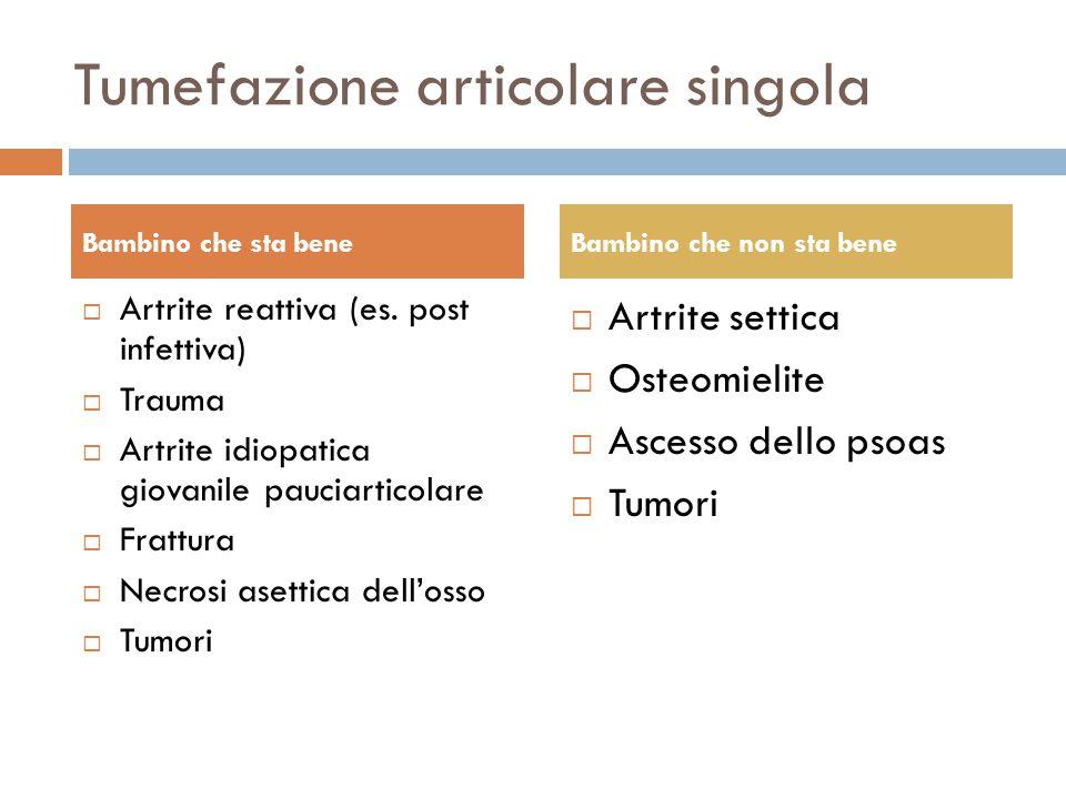 Tumefazione articolare singola  Artrite reattiva (es. post infettiva)  Trauma  Artrite idiopatica giovanile pauciarticolare  Frattura  Necrosi as