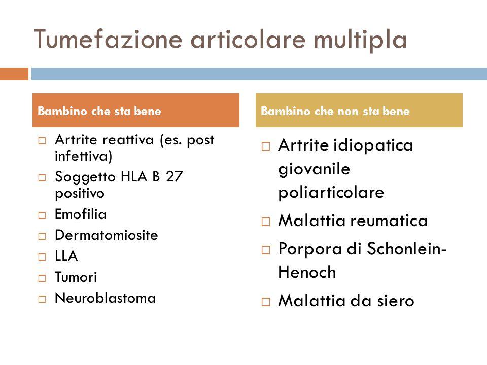 Tumefazione articolare multipla  Artrite reattiva (es. post infettiva)  Soggetto HLA B 27 positivo  Emofilia  Dermatomiosite  LLA  Tumori  Neur
