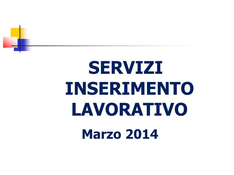 SERVIZI INSERIMENTO LAVORATIVO Marzo 2014