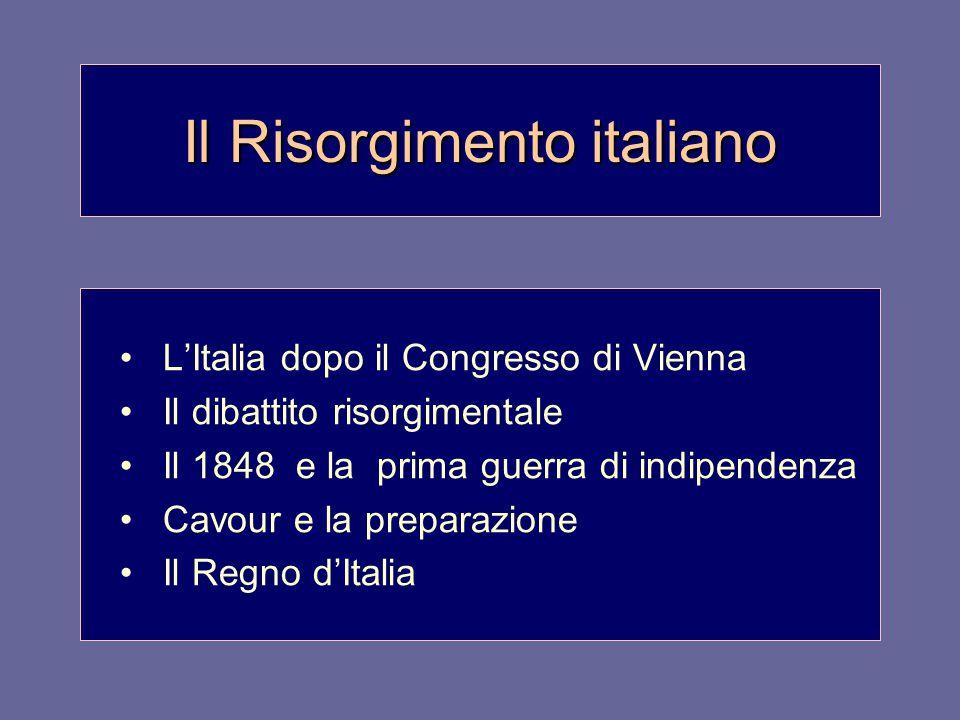 Il Risorgimento italiano L'Italia dopo il Congresso di Vienna Il dibattito risorgimentale Il 1848 e la prima guerra di indipendenza Cavour e la preparazione Il Regno d'Italia