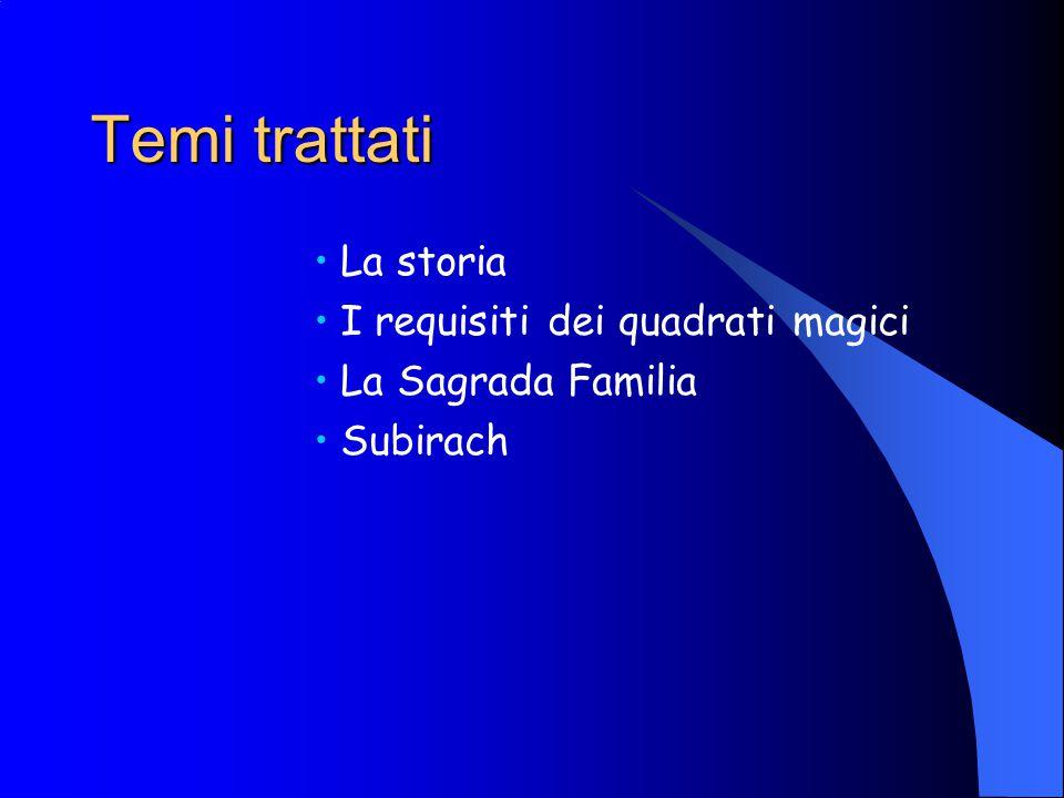 Temi trattati La storia I requisiti dei quadrati magici La Sagrada Familia Subirach
